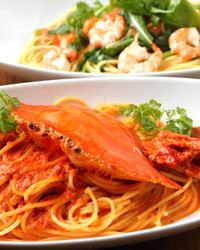 渡り蟹のトマトクリームパスタ