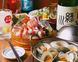 お刺身やお鍋が入ったご宴会コースはお1人様3,000円(税込)から