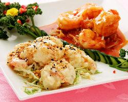 大ぶりプリプリの大正海老を使用したエビマヨ&エビチリは大人気!