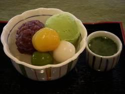 宇治みつと抹茶アイスの『抹茶クリームあんみつ』