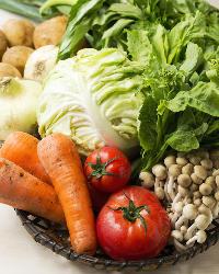 毎朝、契約農家に足を運び直接仕入れる採れたて旬野菜