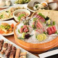 スズキや小松菜など船橋名物満載のコースが飲放付4,500円(税抜)