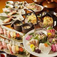 旬なお刺身をふんだんに楽しめる「牡丹コース」は各種宴会に◎