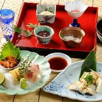旬の会席料理料理各種ございコース6000円よりリーズナブルです