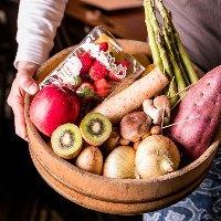 旬の新鮮な野菜を煮たり焼いたり揚げたりしてご提供します