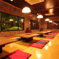 オンドルのお座敷は35人席・日本庭園も!仕切る事も出来ます