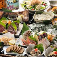 旬な魚介や野菜を使う宴会メニューは飲み放題付きで4,000円〜