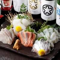 【刺身】 北海道で獲れた新鮮な魚介と山わさびのハーモニー。