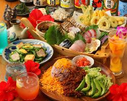沖縄料理を楽しむならコレ!沖縄満喫コース3000円(お料理のみ)