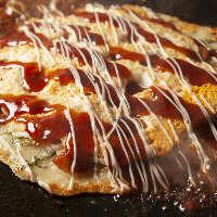 お好み焼きの種類も豊富!自慢の 【山芋天】は絶品の味わい。
