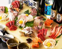 旬の宴会コースは飲み放題に入浴込で5,000円(クーポン使用)