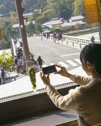 渡月橋と和カフェを一緒に撮影できるスポットも♪SNS映え良し★