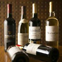 【充実の酒類】 特にワインはかなり充実!80種類以上を揃えます
