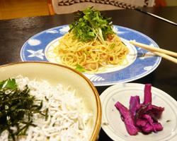 明太子スパゲッティと しらすご飯