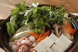 ドハッテン名物の飛鳥鍋!季節の野菜を存分にお楽しみ頂けます。