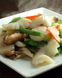 季節野菜と海鮮2種炒め