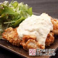 宮崎郷土料理の定番若鶏チキン南蛮。自家製タルタルをドサッと!
