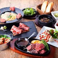 がっつり肉料理が食べれるお得な食べ飲み放題コースが大人気♪