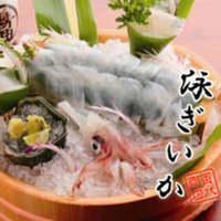 【名物泳ぎイカの刺身】 山口県萩より直送。甘味が違います!