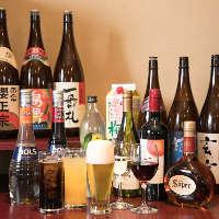 《飲み放題》 夜は+1,500円でアルコール飲み放題に!