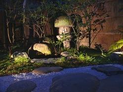ライトアップされたディナータイムのお庭。