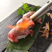 自慢のお肉をさっと炙って お寿司にしました!