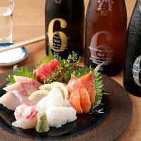 お好きな単品2切~注文可能な刺身は、日本酒との相性抜群です