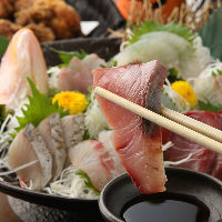 全国各地の漁港から毎朝仕入れる新鮮な魚介をお刺身で堪能