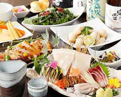 季節の食材をふんだんに盛り込んだ 2H飲放題付コース4500円~