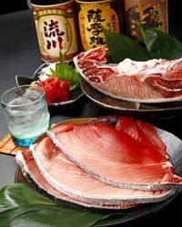 上は鹿児島限定焼酎☆ 下は築地直送の鮮魚(週末・数量限定)