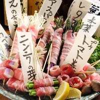 野菜を中心に豚バラで巻いた串は絶品