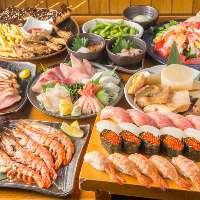 ◇大満足◇ 寿司やお刺身を堪能できるコースは幹事様必見