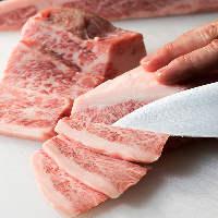 肉の部位に合わせて一番美味しい厚さや切り方で提供する職人技