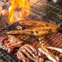 伝統製法で仕上げた干物を炭火でじっくりと焼き上げました