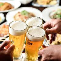 まずはビールで乾杯!約70種のドリンクが2時間飲み放題です!