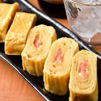 卵焼きの甘さと明太の風味が一体となった明太子入り 厚焼き卵。