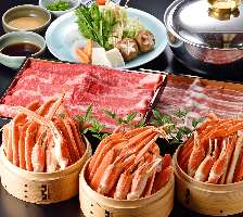 カニと牛・国産豚のしゃぶしゃぶ食べ放題☆