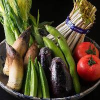 市場の新鮮野菜 野菜も料理人が、目で見て確かなものを仕入れ