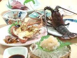 浜咲き人気商品 伊勢海老会食 刺身から塩焼き味噌汁まで
