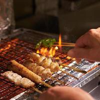 丁寧に焼き上げる串焼き 熱いうちにお召し上がりください