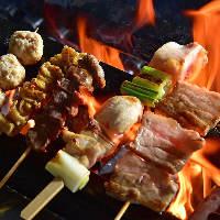 炭火焼鳥多数!必食のごち焼きはモモ、豚バラをご用意!270円~