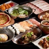 約60種類が揃う3,000円(税抜)の2時間食べ飲み放題コースをご用意