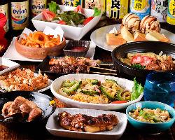 宴会におすすめ!沖縄料理も焼き鳥もデザートも楽しめるコース