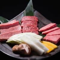 「蔵元極み4種盛り」上カルビ、上ロース、上ハラミ、焼野菜