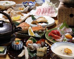 四季折々の食材が彩る華やかな「おまかせ会席コース」。
