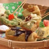 九州各県の名産野菜を使った、串揚げ
