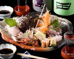 玄海の新鮮な魚介を使用。