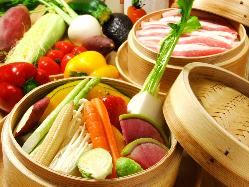 名物!<朝採れ農薬不使用>野菜のセイロ蒸し (中/大)