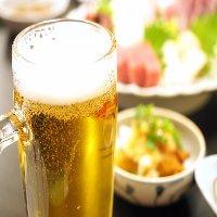 全コース+500円でアサヒスーパードライ生・瓶ビール追加可能◎