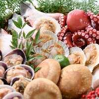 【海鮮BBQ!!】ライブキッチンでは焼きたての海産物を提供!